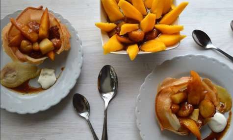 Coupelle aux trois fruits caramélisés