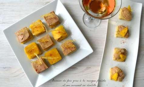Damier de foie gras à la mangue fraîche et son caramel en dentelle