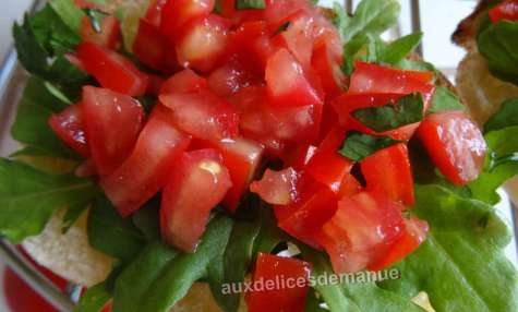 Bruschettas à la roquette et concassé de tomates au balsamique