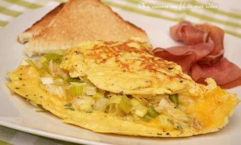 Omelette aux poireaux, échalotes, emmenthal et cheddar