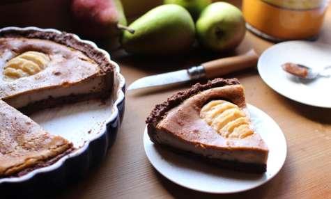 Tarte à la crème de marrons, aux poires et au chocolat