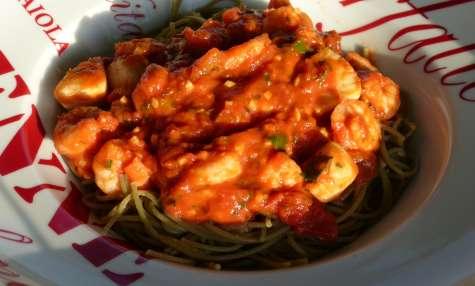 Wok de légumes au porc mariné
