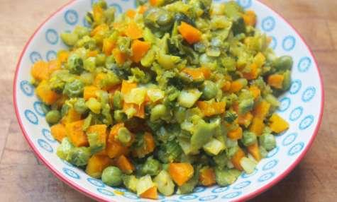Légumes au gingembre et au curcuma.