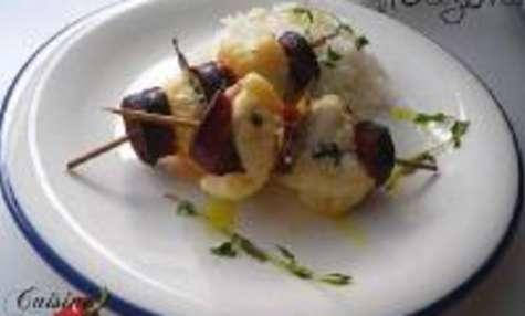 Brochettes de Lotte au Chorizo