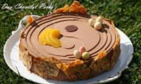 Gâteau de Pâques : Duo Chocolat-Pêche et sa Nougatine