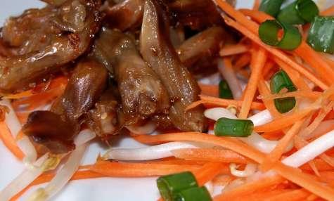 Salade tiède de langues de canard