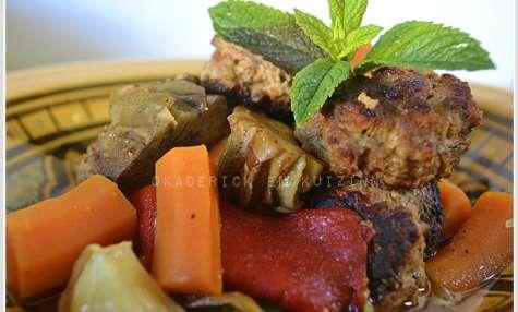 Tajine boulette aux artichauts et légumes bio