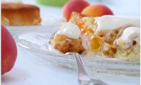Gâteau d'abricots (sans gluten), sauce mousseline au caramel de miel