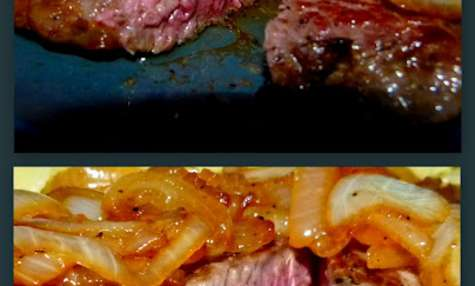 Faux-filet de boeuf et sa fondue d'oignons à la bière