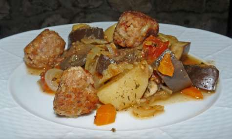 Daube de légumes en cocotte et boulettes de soja
