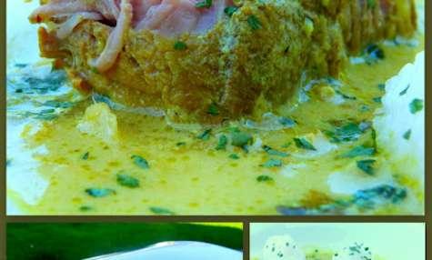 Curry de rôti de veau et quenelles de riz gluant