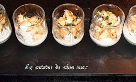 Verrine de crevettes et fromage frais