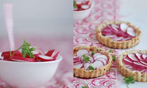 Tartelettes aux radis et fromage à tartiner