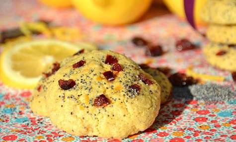 Cookies fondants aux canneberges, citron et graines de pavot