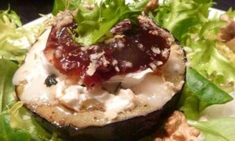 Salade d'Aubergines au Chèvre et Figue