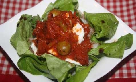 Riz sauce pimentée sur son lit de salade balsamique