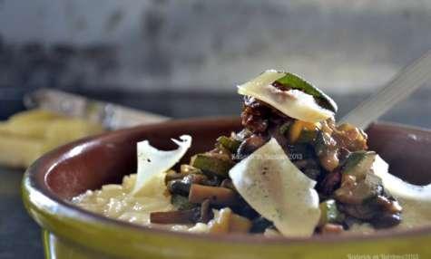 Risotto au fromage et poêlée de légumes