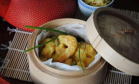 Crevettes parfumées au gingembre, curcuma et lait de coco