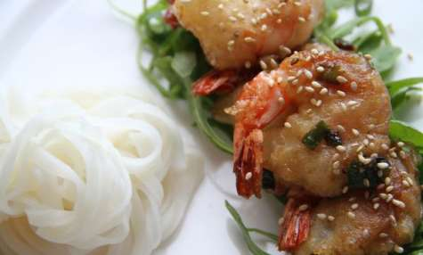 Crevettes aux oignons de printemps et au miel