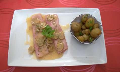Jambon sauce madère et bonnottes de Noirmoutiers