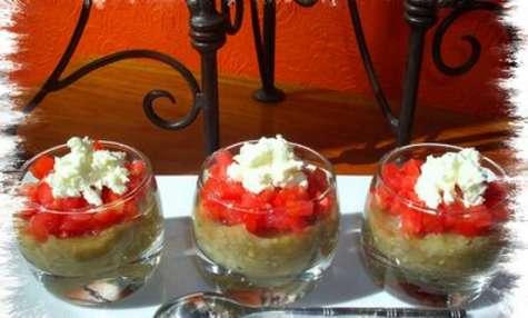 Verrines d'aubergine / tomate & mascarpone