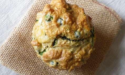 Muffins complets épinards, petits-pois et chèvre