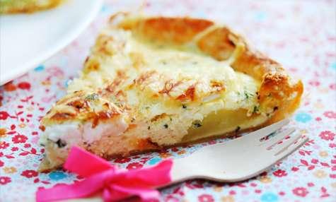 Quiche fromage de chèvre, pommes de terre, jambon