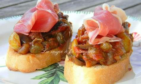 Crostini de caponata et jambon