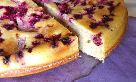 Gâteau renversé à l'épeautre, rhubarbe et cassis