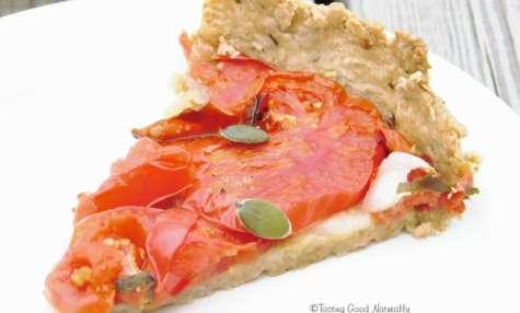 Tarte à la tomate, basilic et moutarde de Dijon