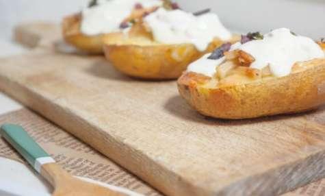 Pommes de terre au four asperges, tomme et saumon