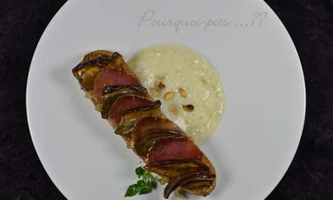 Espuma chaud Panais/huile de truffe – Tartine Cèpes/oignons/porc séché