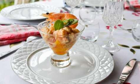Verrines de crevettes aux agrumes et Whisky