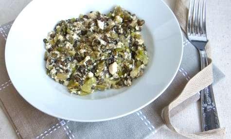 Lentisotto aux poireaux et tofu soyeux