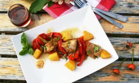 Sauté de porc à l'ananas, sirop d'érable et gingembre