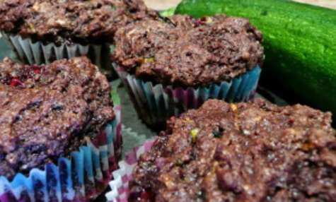 Muffins courgette chocolat coeur framboise
