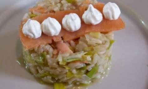 Risotto aux poireaux et saumon fumé