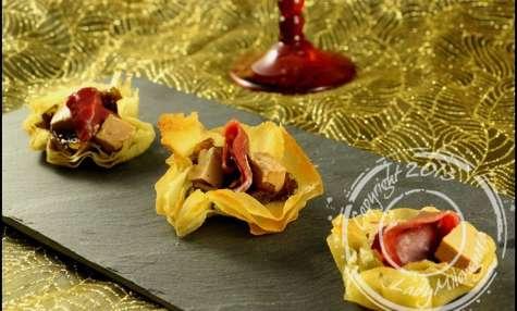 Bouchées croustillantes au magret et foie gras