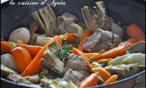 sauté de veau aux légumes printaniers