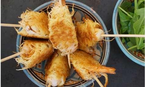 Crevettes marinées croustillantes au kadaïf