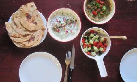 Tzaziki irakien et purée d'aubergines épicée