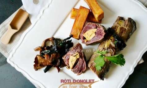 Rôti d'onglet farci de foie gras mi-cuit à la plancha