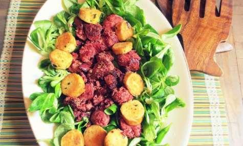 Salade Express aux Quenelles à l'Estragon et Foies de Volailles Confits