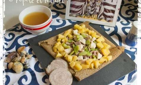 Galette bretonne à l'andouille aux pommes cidrées et aux fèves
