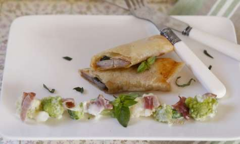 Nems de canard au soja, jambon et basilic