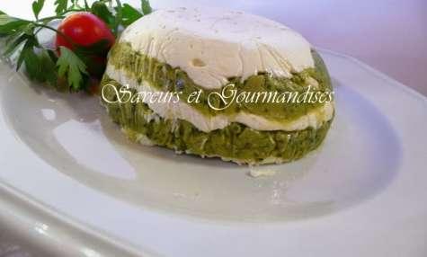 Pesto d'artichaut et Mousse de fromage en mille-feuilles