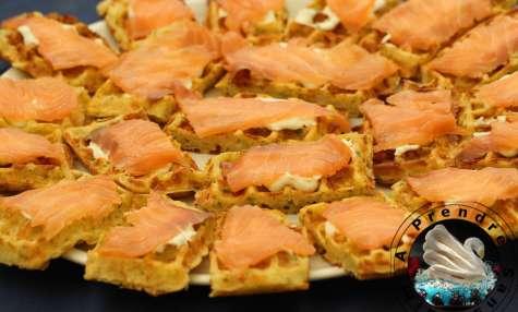 Gaufres de pommes de terre au saumon fumé