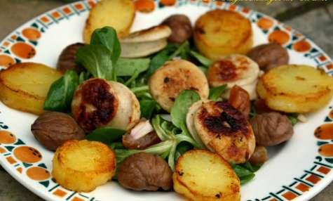 Salade au boudin blanc, pommes de terre et châtaignes