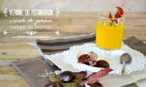 Verrines potimarron en velouté au chips de jambon et tartare de marron