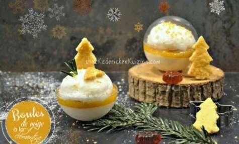Boule de panna cotta à la fleur d'oranger, compotée de clémentine et oeuf à la neige